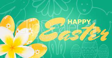 Yellow type and yellow flower and eggs against green easter pattern