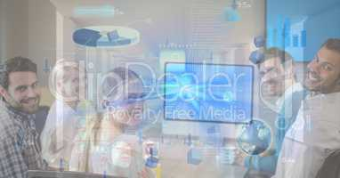 Digital composite image of business people and graph and screen
