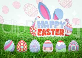 Happy Easter text with Easter eggs on grass with pattern