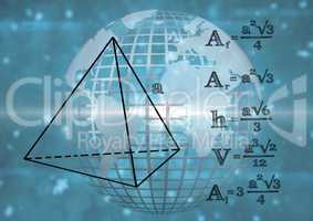 3D technological earth with graphic about triangle