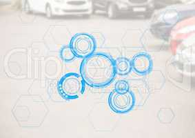 Cars in carpark with blue interface and white overlay