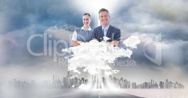 Digitally generated image of business people over city in sky