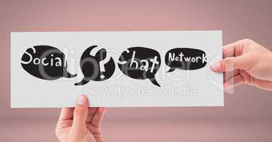 Hands holding card with social media chat networking speech bubbles drawings