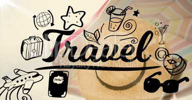 Travel graphic with hat and beach umbrella background