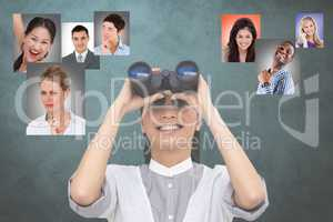 Digital composite image of HR looking at candidates through binoculars