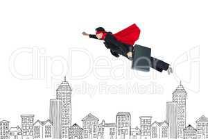 Digital composite image of businesswoman in super hero cape flying over buildings