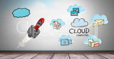 Digital composite image of rocket with notes representing cloud computing