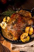 Duck on old Polish roasted with thyme and Apple