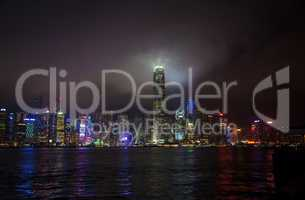 Hong Kong Victoria Harbour Skyline at Night