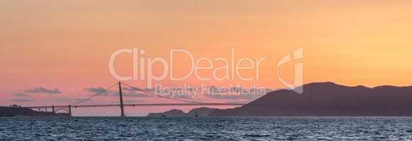 Golden Gate Bridge and Marin Hills Panorama Sunset.
