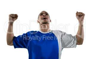 Football player celebrating his victory
