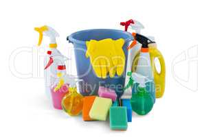 Bucket amidst cleaning products