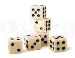 Six gaming dice