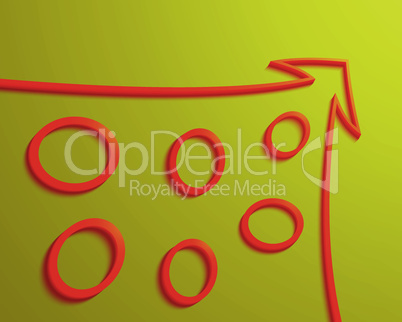 Red arrow with rings inside yellow background