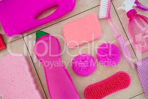 Close up of pink cleaning products