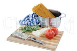 Food with cutting board and grater