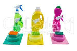 Close up of colorful cleaning products