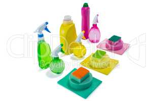 High angle view of colorful cleaning products