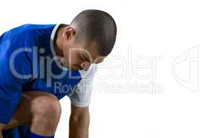 Football player getting ready for the game