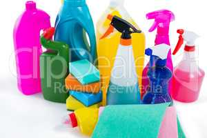 of cleaning liquid bottles and wipe pads