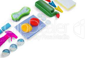 High angle view of cleaning products