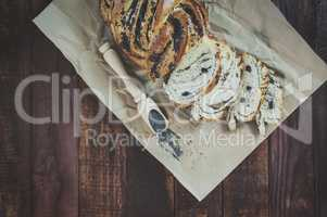 Baked pastry with poppy seeds on brown kraft paper