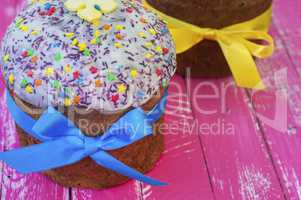 Orthodox sweet pastry for Easter with glaze