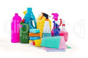 Cleaning liquid bottles and wipe pads