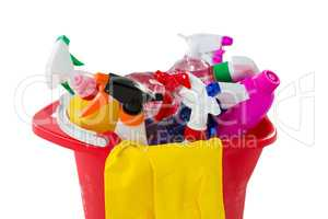 Close up of cleaning products in bucket