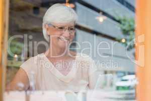 Happy senior woman using mobile phone