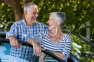Senior couple leaning on car door