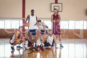 Confident basketball players in the court