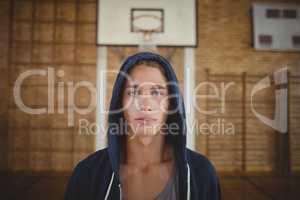 High school boy standing in the court