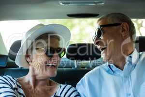 Cheerful senior couple in car