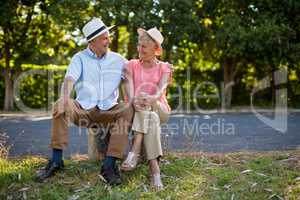 Smiling senior couple sitting on rock