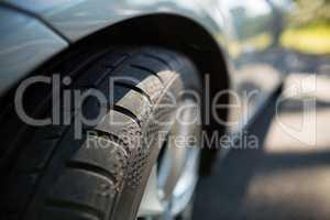 Close up of car wheel