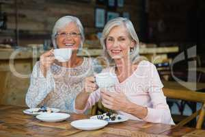 Portrait of senior friends having coffee and breakfast