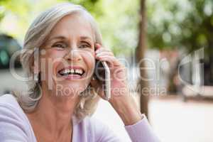 Senior woman talking on mobile phone