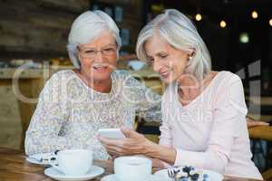 Two senior women using mobile phone
