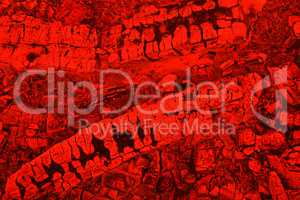 Firewood background with charcoal in red color