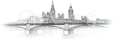 London city skyline with Westminster palace and Lambeth bridge