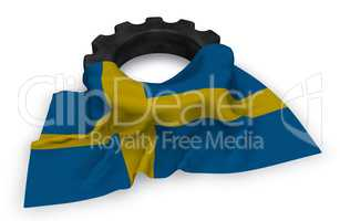 gear wheel and flag of sweden - 3d rendering