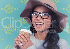 Woman with summer hat and coffee against yellow sun pattern and blue background