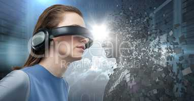 3D black male AI facing woman in VR with flare in between against servers