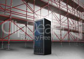 Server in front of scaffolding in grey room