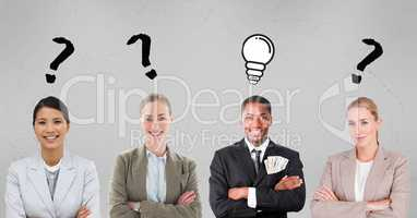 Business people with question mark and light bulb signs