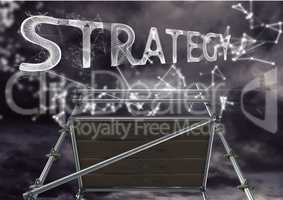 Strategy Text with 3D Scaffolding and technology interface dark sky