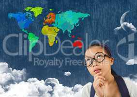 Woman looking at Colorful Map with  cloudy background