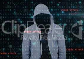 Grey jumper hacker. cyber attack
