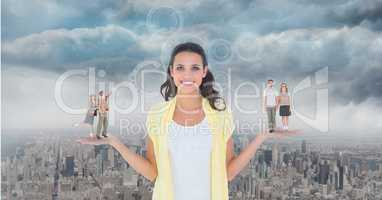 Digitally generated image of people standing on standing on woman palm against city